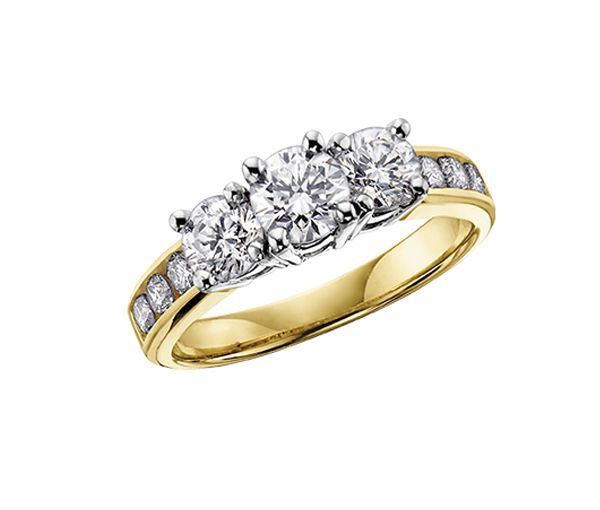 Bague dame or 14k 2 tons sertie de 9 diamants