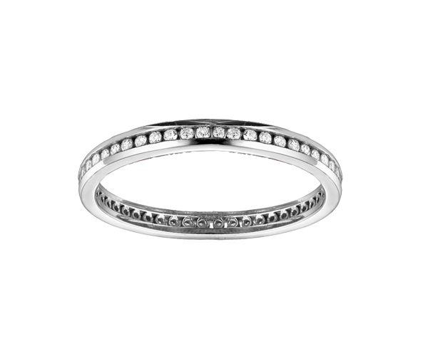 Délicat jonc éternité pour dame en or 14k blanc serti de diamants