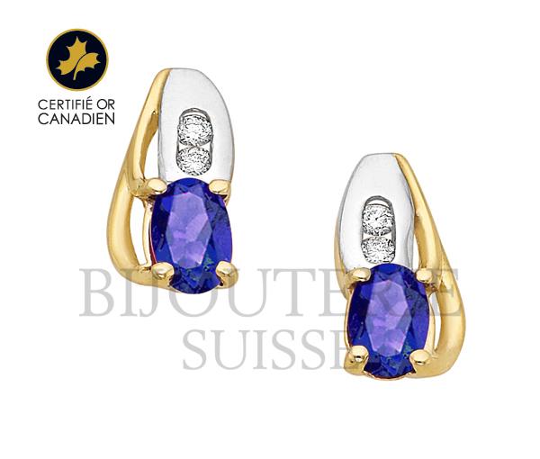 Boucles fixes 10k saphir 4=0,04 diamant i1