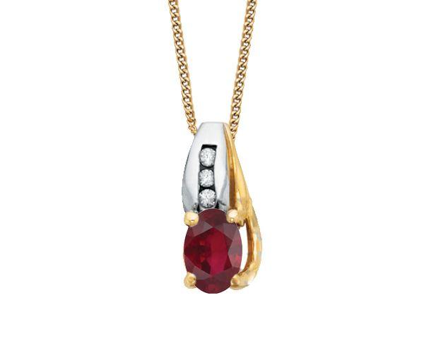 Délicat pendentif pour dame en or 10k 2 tons serti d'un rubis et de diamants