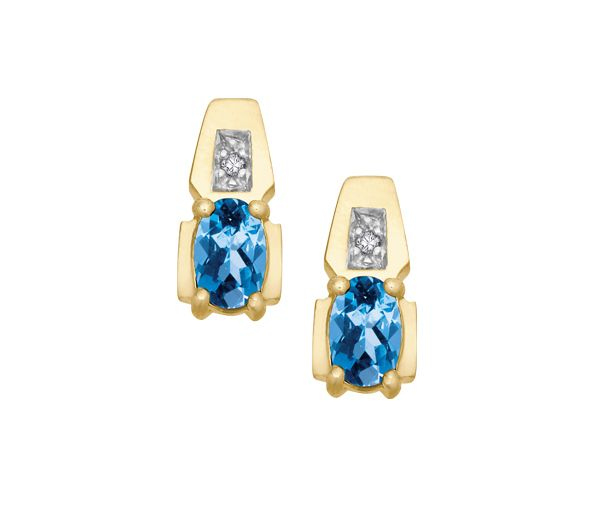 Boucles 10k topaze bleu+0,01 diamant i1