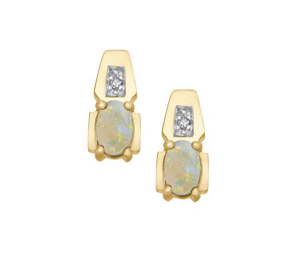 Boucles 10k opale+0,01 diamant i1