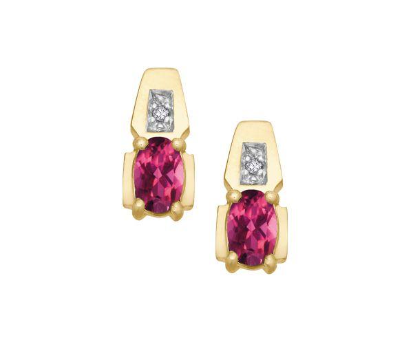 Boucles 10k topaze rose+0,01 diamant i1