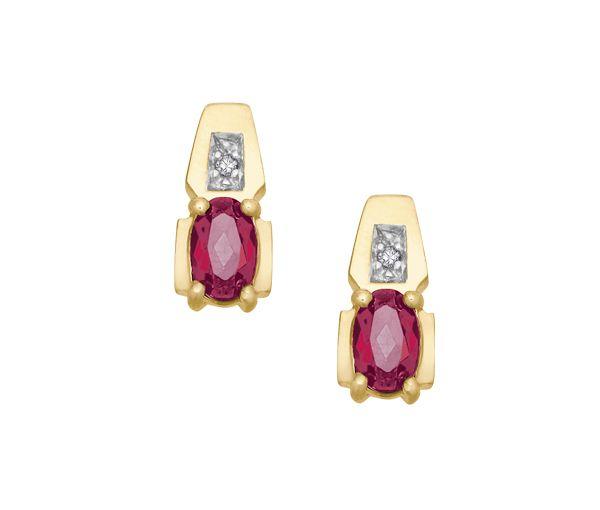 Boucles 10k rubis+0,01 diamant i1