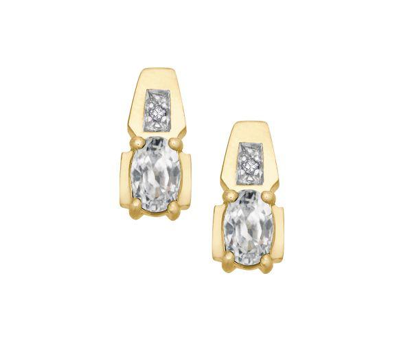 Boucles 10k zircon blanc+0,01 diamant i1