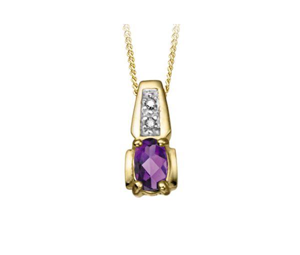 Pendentif 10k amethyste 0,01 diamant i1 18