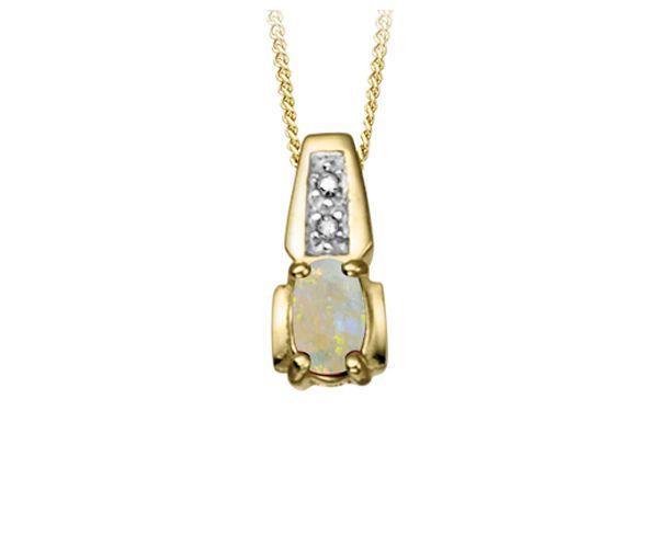 Pendentif 10k opale 0,01 i1 18''