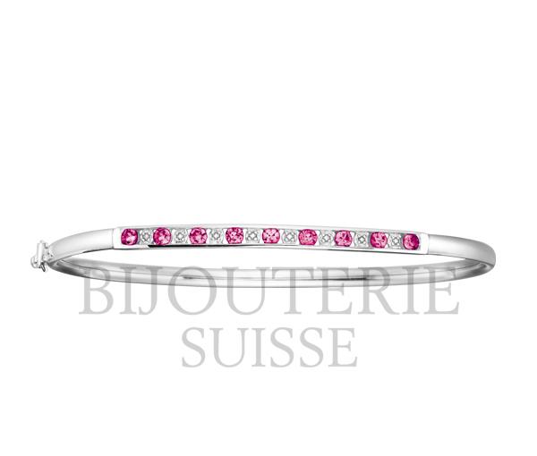Bracelet dame bangle 10k 8=0,04 diamant + 9 saphir rose