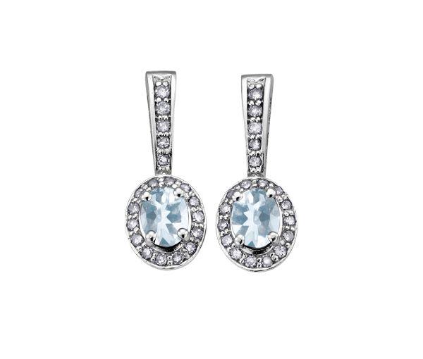 Boucles 10-14k blanc aquamarine 0,21 diamant i1