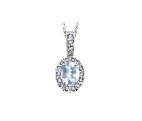 Pendentif 10k blanc aqua-marine 18=8,5points diamant i1 18''