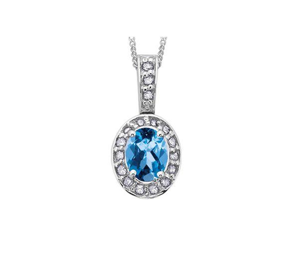 Pendentif 10k blanc topaze bleu 18=8,5points diamant i1 18''