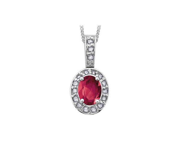 Pendentif 10k blanc rubis 18=8,5points diamant i1 18''
