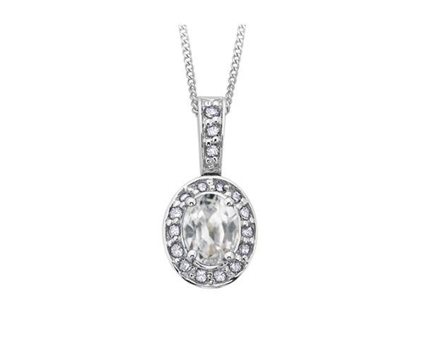 Pendentif 10k blanc zircon blanc 17=8,5 pts diamant i1 18''