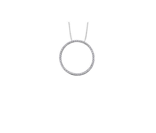 Superbe pendentif cerle de vie pour dame en or 10k blanc serti de diamants