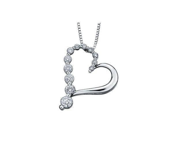 Magnifique pendentif coeur pour dame en or 14k blanc serti de diamants