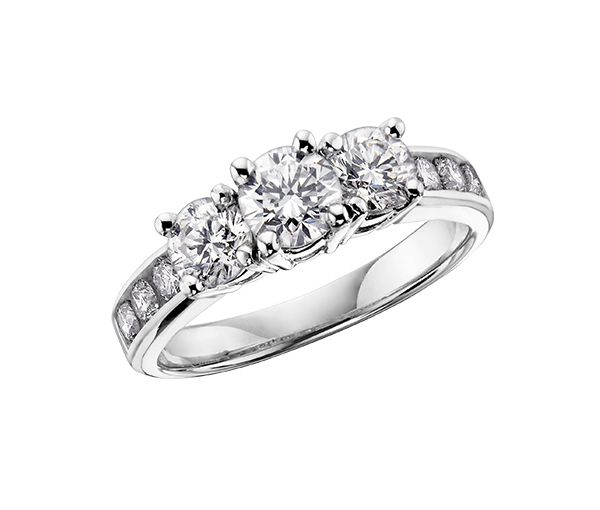 Bague dame or 14k blanc sertie de 9 diamants