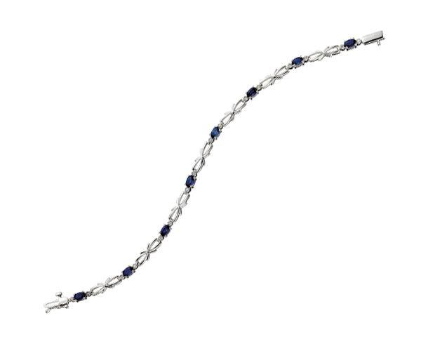 Bracelet 10k bl.8 saphir+16=0,08 diamant