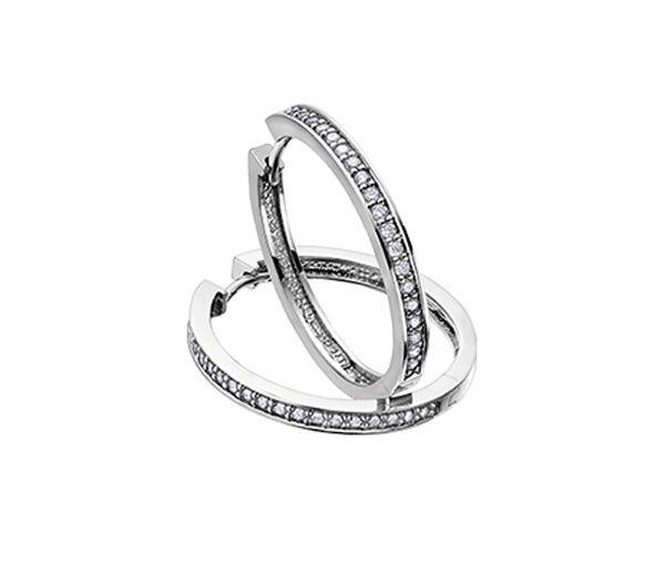 Boucles huggies 10k blanc 10=0,05 diamant i1
