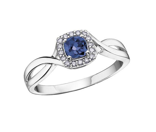Belle bague pour dame en or 10k blanc sertie d'un saphir bleu et de diamants