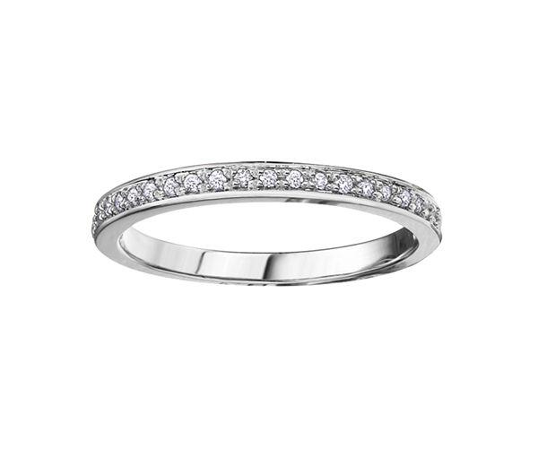 Délicat jonc semi-éternité pour dame en or 10k blanc serti de diamants