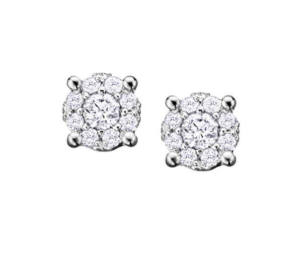 Boucles 14k 18=0,27 diamant illusion 1ct