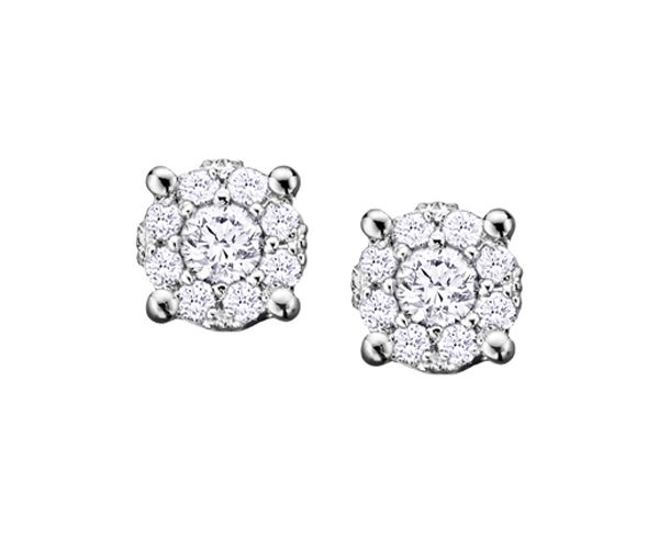 Boucles 14k blanc 18=0,52 diamant si2 illusion 2 carats