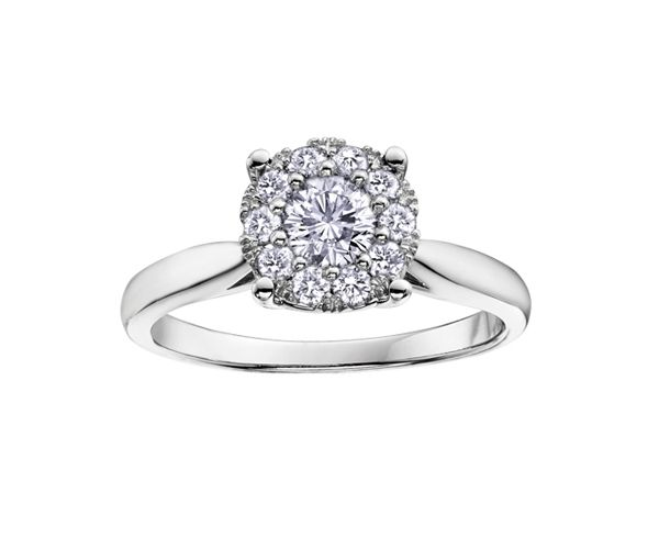Bague dame or 10k blanc sertie de 9 diamants