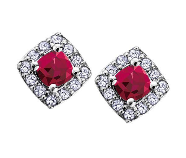 Boucles 10k blanc rubis 24=0,12 diamant i1