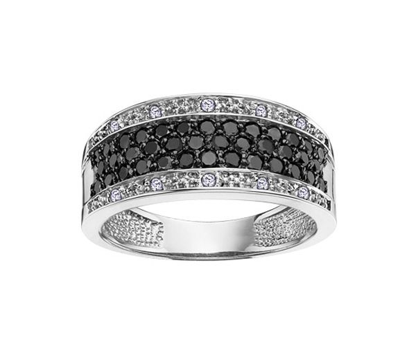 Jonc dame or 14k serti de 48 diamants noirs et blancs