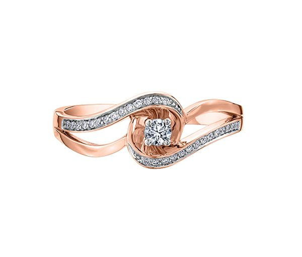 Bague dame or 10k rose sertie de 29 diamants