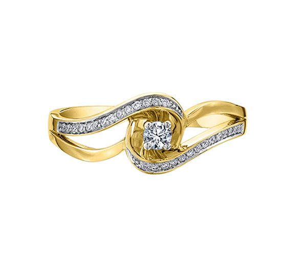 Bague dame or 10k sertie de 29 diamants