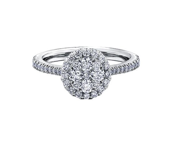 Bague dame en or 14k blanc sertie de 49 diamants
