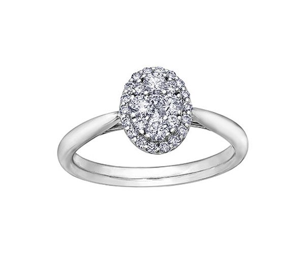 Bague dame 14k blanc sertie de 28 diamants