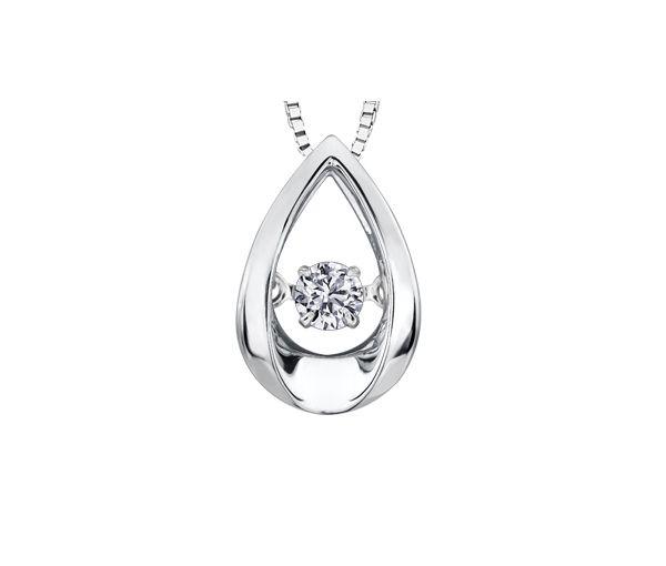 Pendentif en or 10k blanc serti d'un diamant dansant