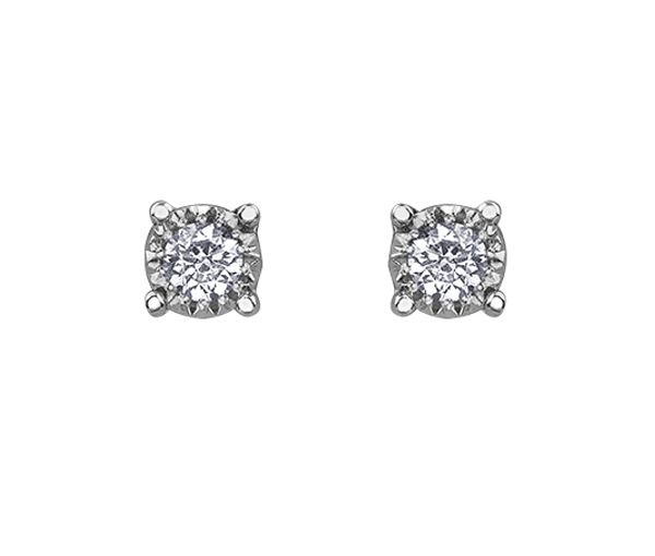 Boucles en or 10k blanc serties de 2 diamants