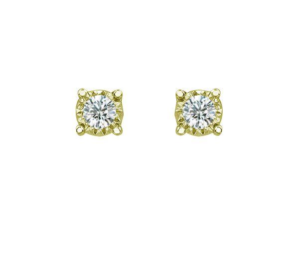 Boucles 10k 2 = 0,10 diamants si2