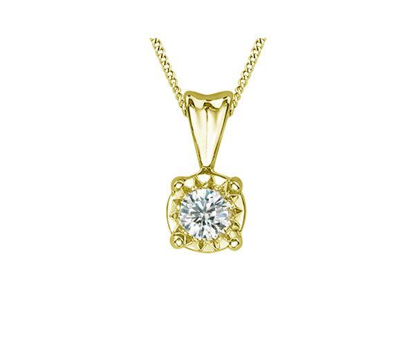 Pendentif dame en or 10k serti d'un diamant