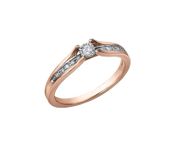 Bague dame en 10k rose et blanc sertie de 11 diamants