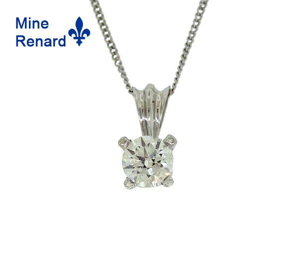 Pendentif 14k 0,32 diamant quebec 18''