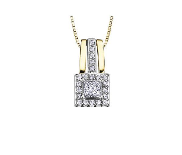 Pendentif 14k 2t 22=0,50 diamants 18