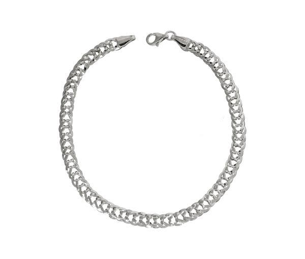 Bracelet 10k blanc gourmette 7.5