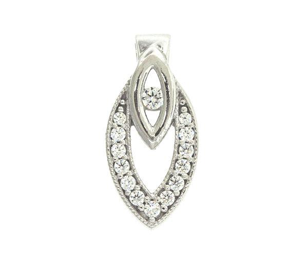 Charmant pendentif pour dame en or 10k blanc serti de cubiques zirconias
