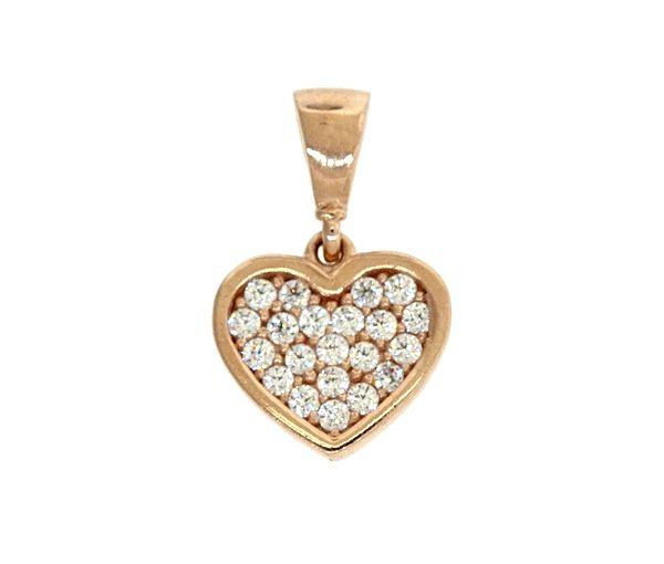 Pendentif joli coeur pour dame en or 10k rose serti de cubiques zirconias