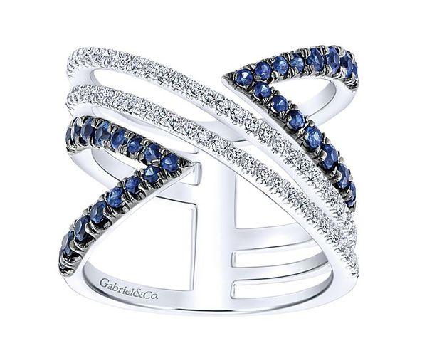 Magnifique bague pour dame en or 14k blanc sertie de diamants et de saphirs bleus