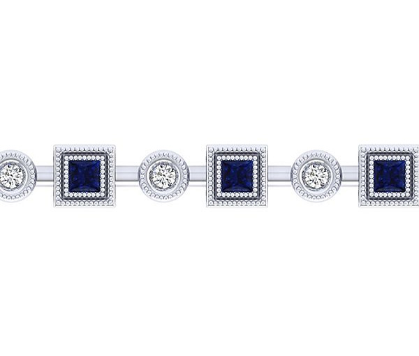 Bracelet 14k 0,96 saphirs 0,28ct diamant