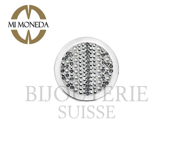 Pastille joya acier cristaux perles gris large