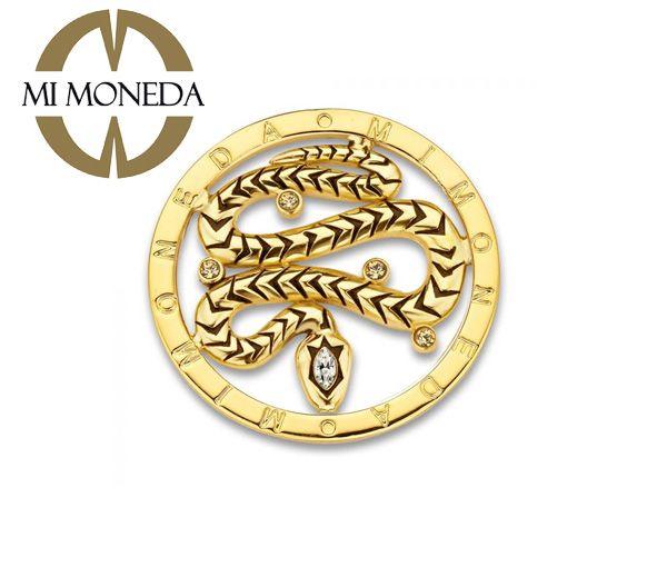 Monnaie jungle serpent acier doré
