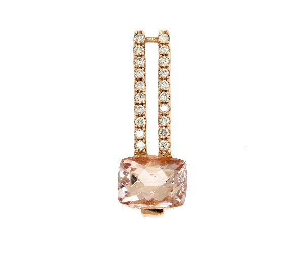 Pendentif exquis pour dame en or 14k rose serti d'une morganite et de diamants