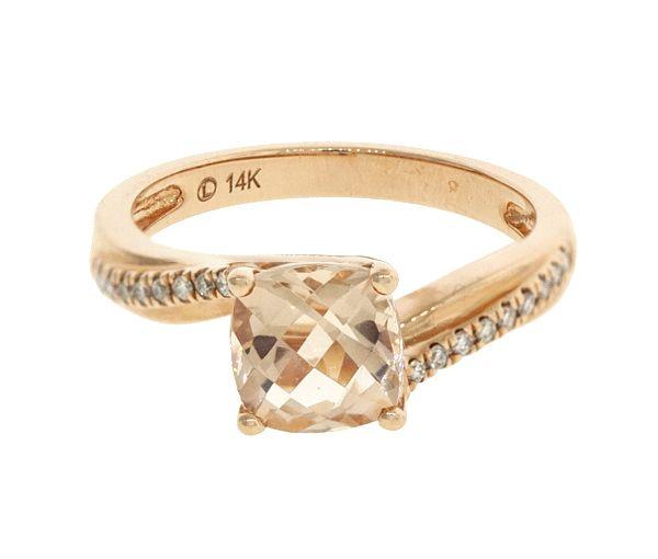 Jolie bague pour dame en or 14k rose sertie d'un béryl morganite et de diamants