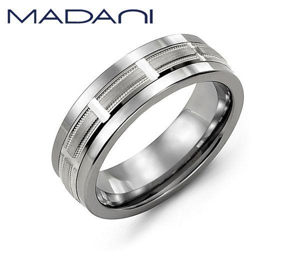 Jonc madani pour homme en tungsten et or